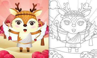 Libro da colorare per bambini con un simpatico angelo cervo con costume da Cupido a tema San Valentino