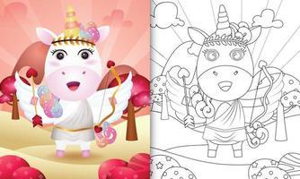 Libro da colorare per bambini con un simpatico angelo unicorno che usa il costume di Cupido a tema San Valentino vettore