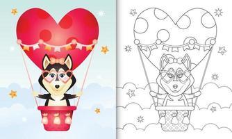 Libro da colorare per bambini con una simpatica femmina di cane husky in mongolfiera a tema San Valentino