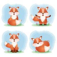 simpatica collezione di volpi nello stile dei bambini vettore