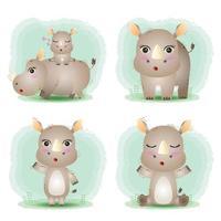 simpatica collezione di rinoceronti nello stile dei bambini vettore
