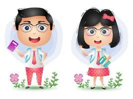 un simpatico vettore di cartone animato personaggio coppia di studenti