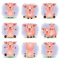 simpatica collezione di maiali nello stile dei bambini vettore