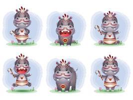 simpatica collezione di ippopotami con costume da apache vettore