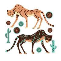 adorabile caccia al ghepardo con erba spinifex e cactus vettore