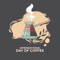 biglietto di auguri per la giornata internazionale del caffè vettore