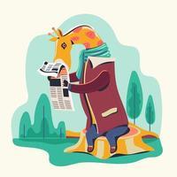 personaggi animali che leggono il giornale vettore