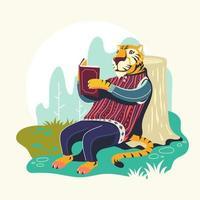 personaggi animali che leggono libri illustrazione vettoriale