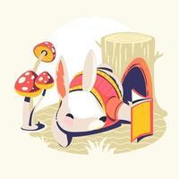 personaggi animali che leggono il libro vettore