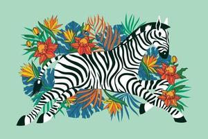 zebra selvaggia con sfondo di fiori tropicali esotici vettore