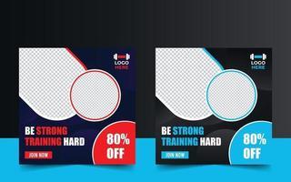 modello di banner promozionale di allenamento palestra fitness vettore
