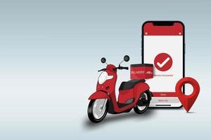 concetto di sfondo del servizio di consegna online, concetto di e-commerce, smartphone scooter rosso e perno della mappa, illustrazione vettoriale