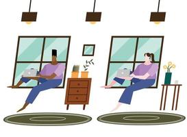 donna e uomo con il portatile a casa disegno vettoriale