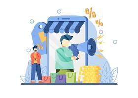 concetto di grande vendita di promozione e-commerce. un uomo con il megafono sullo schermo fornisce annunci di shopping online di sconto. Vendita flash, offerta speciale, metafora astratta di promozione del negozio di e-commerce. vettore