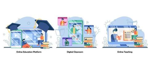 insegnante personale professionale, istruzione a distanza, set di icone di classe digitale. piattaforma di formazione online, aula digitale, insegnamento online. illustrazioni di metafora concetto isolato design piatto vettoriale