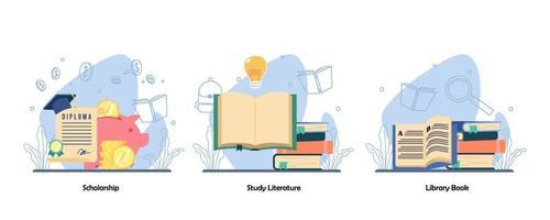 conseguimento del diploma accademico. libro di lettura, set di icone di raccolta di libri. borsa di studio, letteratura di studio, libro di biblioteca. illustrazioni di metafora concetto isolato design piatto vettoriale
