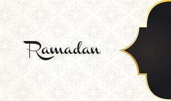 lettering ramadan kareem con decorazione cornice dorata vettore