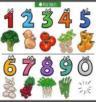 numeri di cartoni animati educativi con verdure vettore
