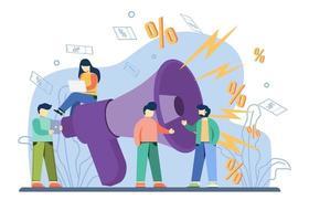 concetto di vendita flash di promozione e-commerce. grande megafono fornisce annunci di acquisto di sconto. vendita lampo, offerta speciale, promozione del negozio di e-commerce, analisi dei profitti, metafora astratta del reddito al dettaglio vettore