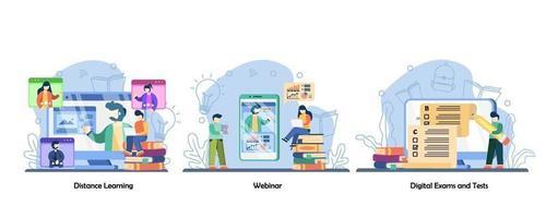 formazione online, videochiamata, formazione online, set di icone di test online. formazione a distanza, webinar, esame digitale e test. illustrazioni di metafora concetto isolato design piatto vettoriale