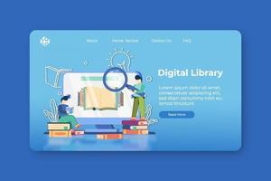 illustrazione vettoriale moderno design piatto. pagina di destinazione della biblioteca digitale e modello di banner web. e-learning, e-book, ricerca e-learning, lettura in linea, biblioteca di enciclopedia, concetto di archivio web