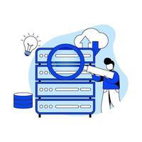 icona dell'illustrazione di vettore di concetto di analisi dei big data. analisi dei dati, data center, cloud computing, cloud storage, tecnologia intelligente, servizio di archiviazione. metafora astratta per pagina di destinazione e app per dispositivi mobili