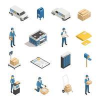 icone isometriche del servizio postale dell'ufficio postale vettore