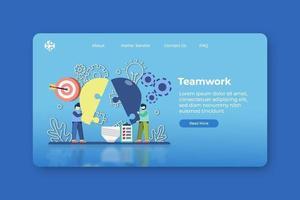illustrazione vettoriale moderno design piatto. pagina di destinazione del lavoro di squadra e modello di banner web. idea innovativa e creativa, soluzione di nuove idee, problem solving, soluzione aziendale, brainstorming.