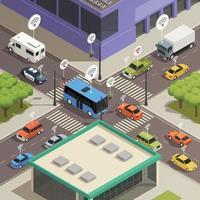 composizione isometrica tecnologia smart city vettore