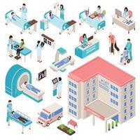 set medico ospedaliero isometrico vettore