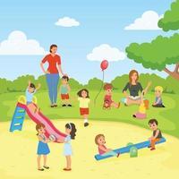 composizione piatta baby sitter asilo vettore