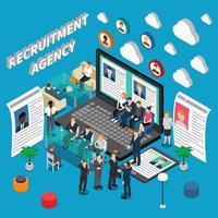 reclutamento assunzione gestione risorse umane composizione isometrica persone vettore