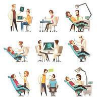 set di cartoni animati dentista vettore
