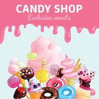 poster del negozio di caramelle dolci vettore