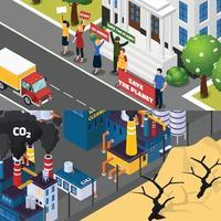 riscaldamento globale cambiamento climatico banner piatti ortogonali vettore