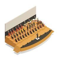 composizione di persone isometriche orchestra vettore