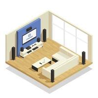 interno isometrico home theater vettore