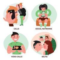 concetto di design di persone di telefonia mobile vettore