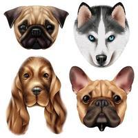 set di razza di cane realistico vettore