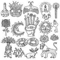 insieme di contorni del tatuaggio di religione magica di alchimia alla moda vettore