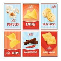 carte di snack salati vettore