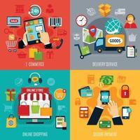e-commerce 2x2 set vettore