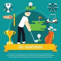 illustrazione piatta da golf vettore