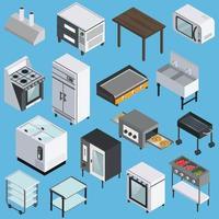 Icone isometriche interne di cucina professionale vettore