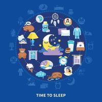 illustrazione vettoriale di tempo di sonno