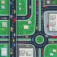 illustrazione superiore della città di traffico vettore