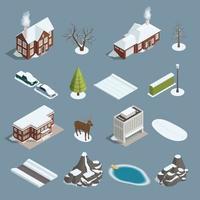 costruttore di elementi isometrici di paesaggio invernale vettore