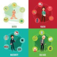 concetto di ciclo di vita umano vettore