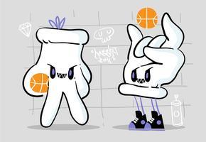 Illustrazione urbana fredda di vettore della mascotte di pallacanestro del carattere della mano