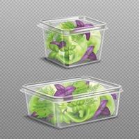 insalata fresca nel set di pacchetti di plastica vettore